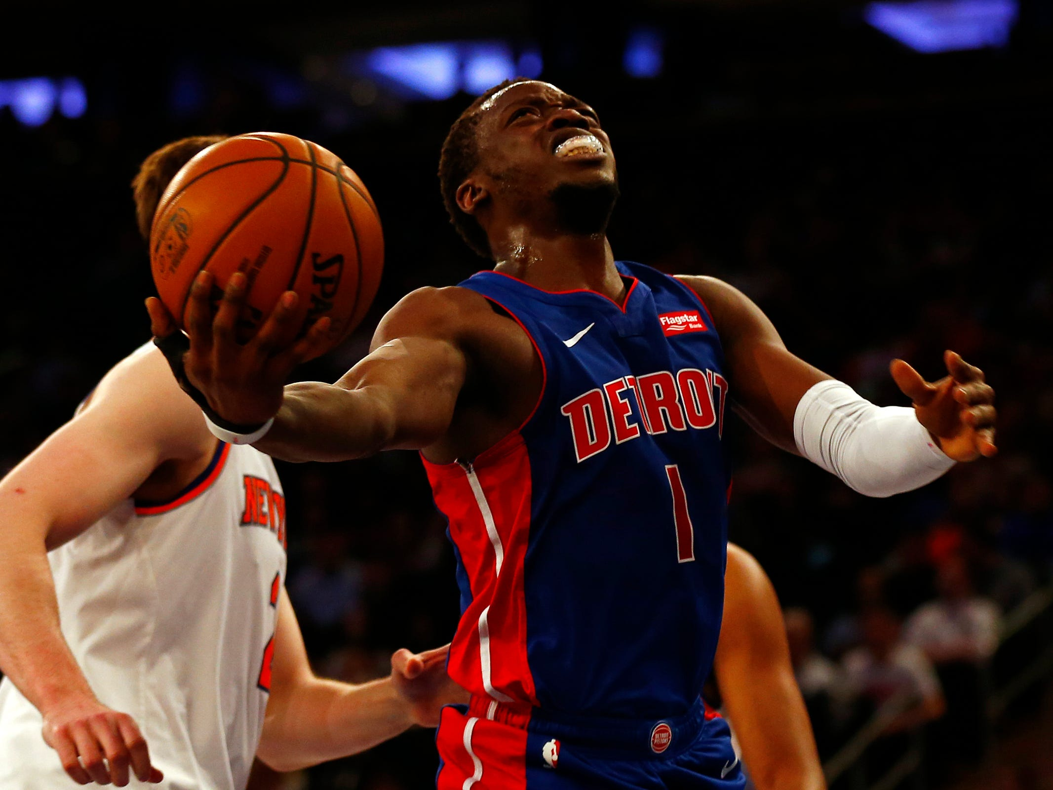 Detroit Pistons guard Reggie Jackson (1) drives to the basket against the New York Knicks during the first half at Madison Square Garden on Wednesday, April 10, 2019.