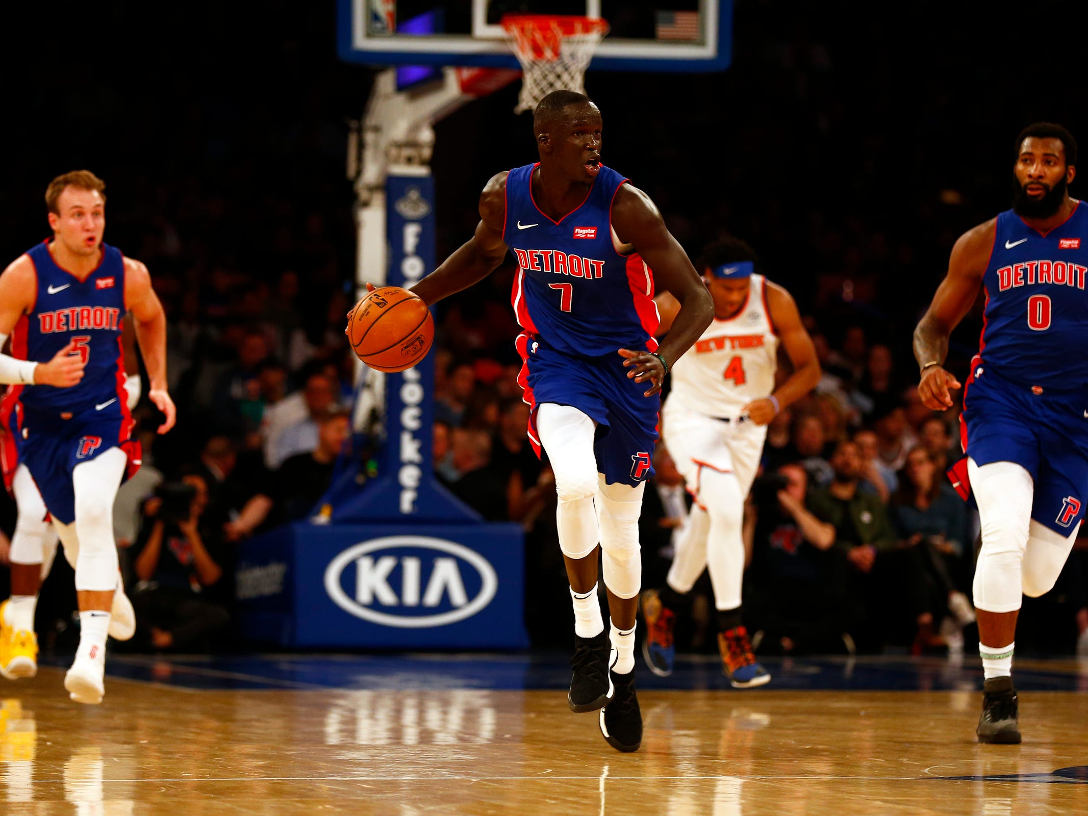 Detroit Pistons forward Thon Maker (7) brings the ball upcourt against the New York Knicks during the first half at Madison Square Garden on Wednesday, April 10, 2019.