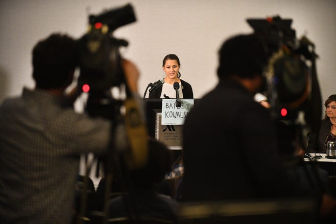 Michigan State University student Bailey Kowalski, 22, faces the media and tells her story during an East Lansing press conference Thursday concerning sexual assault.