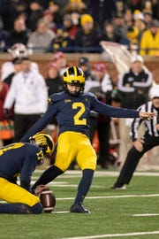 Michigan's Jake Moody was 10-of-11 on field goals as a freshman last season.