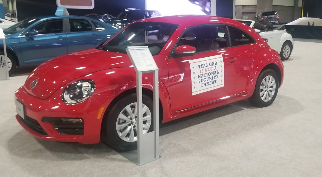 A Volkswagen Beetle at the Washington  Auto Show has a message for politicians in the nation's capital.