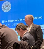 Superintendent Gary Niehaus, right, at a Grosse Pointe Public School System meeting that addressed specific buildings that face potential closure.