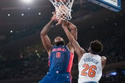 Detroit Pistons center Andre Drummond (0) goes to the basket against New York Knicks center Mitchell Robinson (26) during the first half.