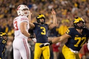 Michigan place-kicker Quinn Nordin was 11-of-16 last season but went through a stretch where he made only three of seven.