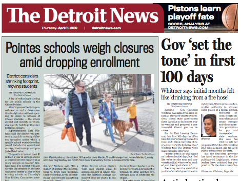 The front page of The Detroit News on Thursday, April 11, 2019.