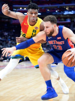 The status of Pistons forward Blake Griffin for Game 1 of the first-round series against the Milwaukee Bucks is uncertain.