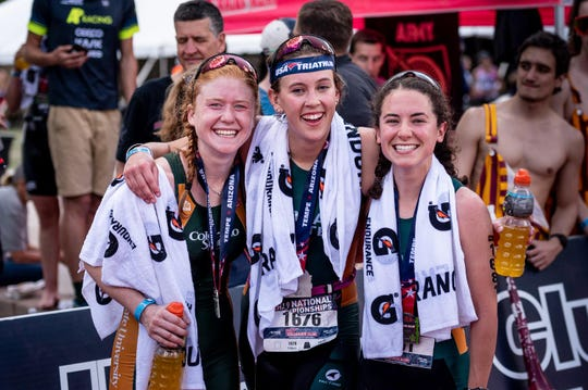 CSU triathletes, from left, Hayley Belles (first), Katrina Lems (third) and Meghan Smith (second) were the first teammates to sweep the podium in USA Triathlon Collegiate Club National Championships history.