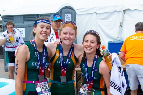 CSU triathletes, from left, Hayley Belles Katrina Lems (third), Hayley Belles (first) and Meghan Smith (second) were the first teammates to sweep the podium in USA Triathlon Collegiate Club National Championships history.