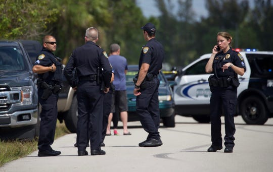 Cape Coral Police presence on NE 39th Terrace near the intersection with Gator Circle E.