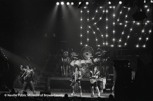 KISS performs March 6, 1986, at Brown County Veterans Memorial Arena. Before the band took the stage, a bomb threat forced the building to be evacuated.