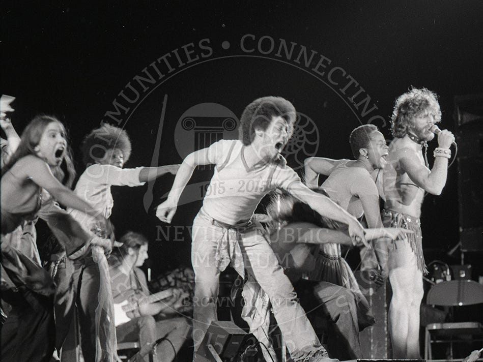 The cast of Hair performs at the Brown County Veterans Memorial Arena on Feb. 14, 1976.