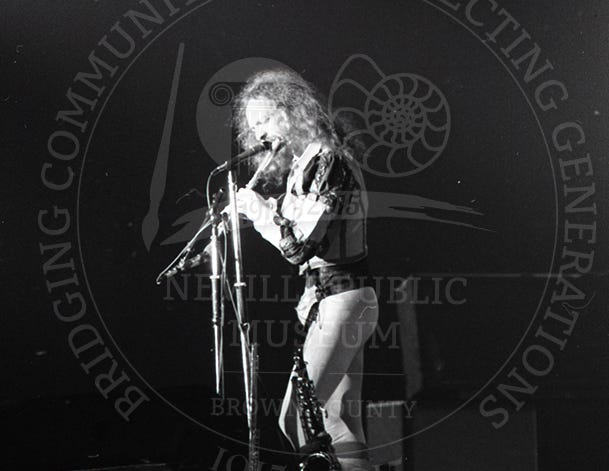 Ian Anderson of Jethro Tull at the Brown County Veterans Memorial Arena on Oct. 29, 1975