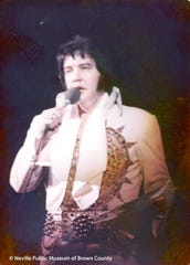 Elvis Presley performs on April 28, 1977, at Brown County Veterans Memorial Arena.
