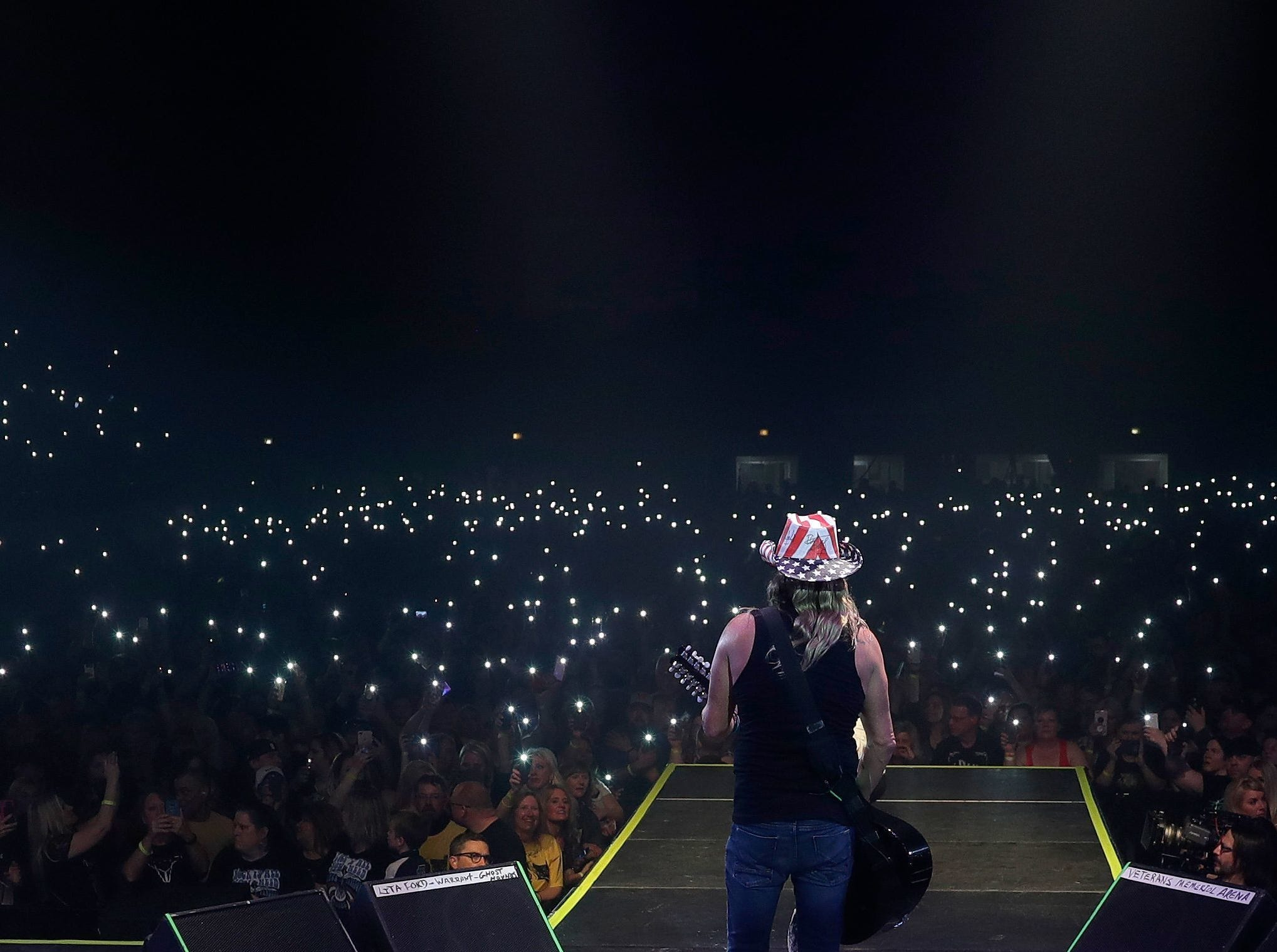 Cell phones shine in the audience of 5,600 who came to the last concert at Brown County Veterans Memorial Arena on April 6, 2019. Bret Michaels was the headliner.