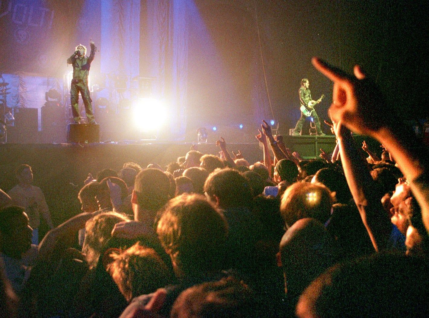 Fans cheer Powerman 5000 at Brown County Veterans Memorial Arena.  The band opened for Korn.