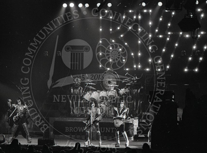 Kiss at the Brown County  Veterans Memorial Arena on March 6, 1986.