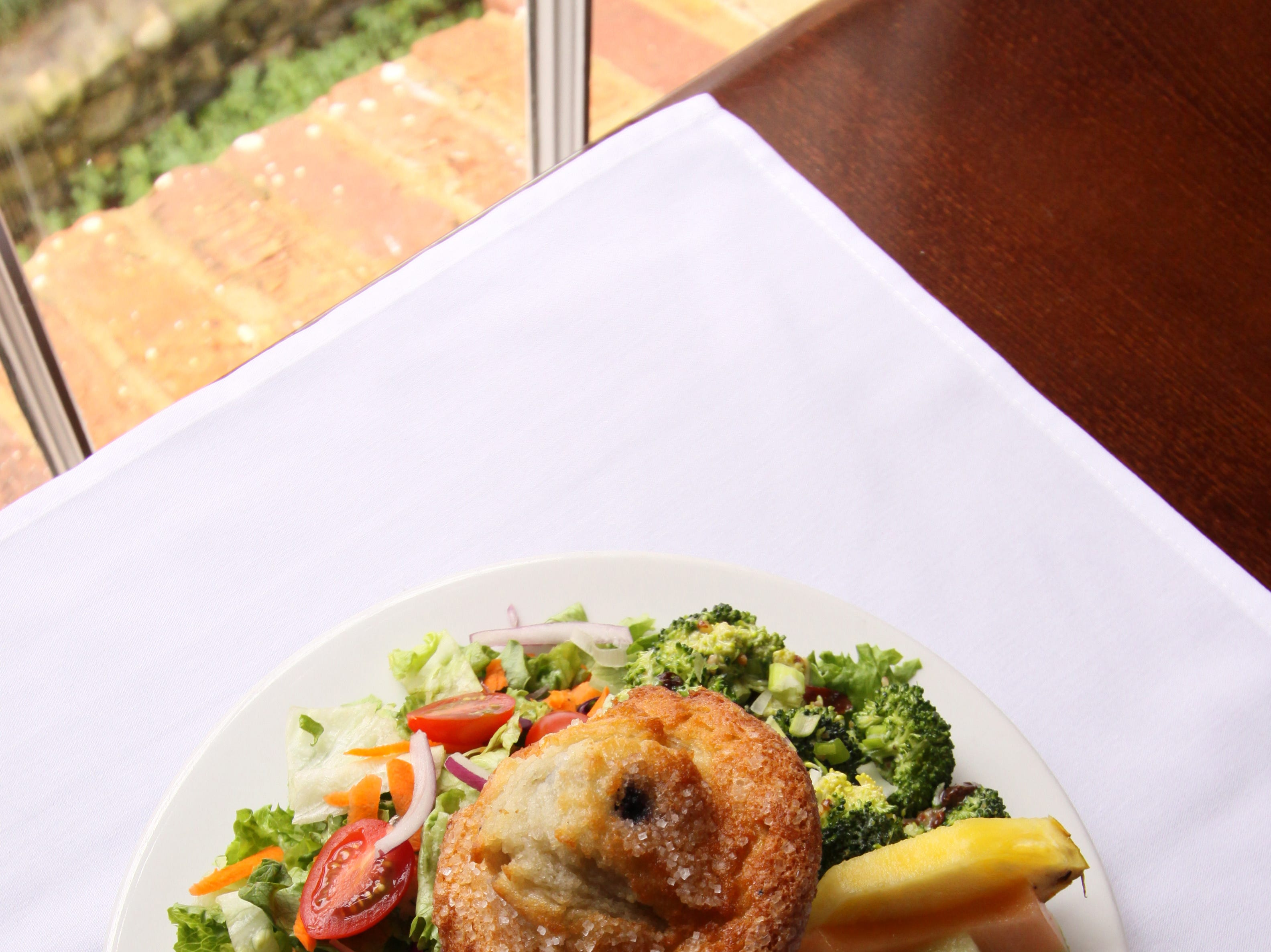 Broccoli salad and blueberry muffin from Mary's at Falls Cottage.