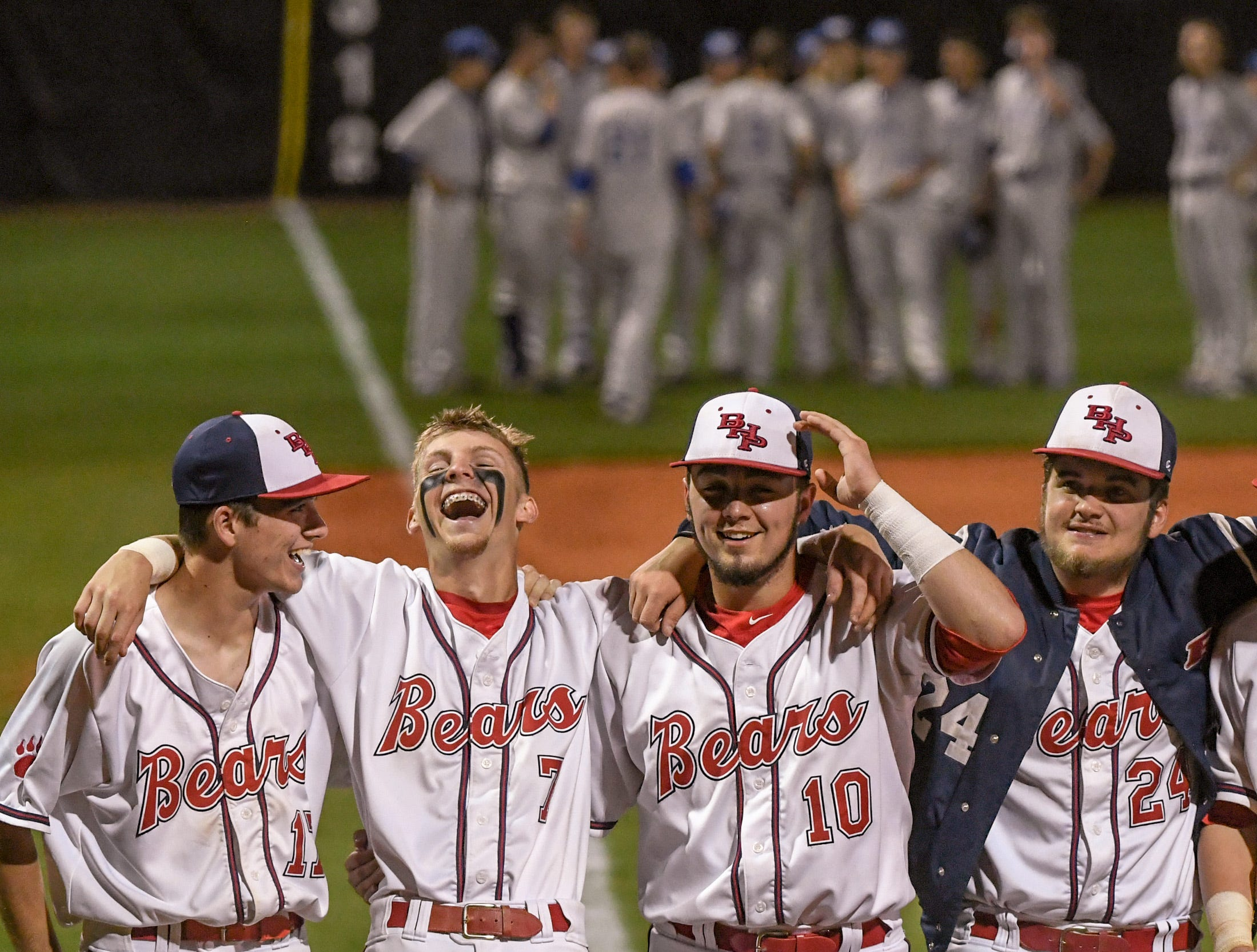 Belton-Honea Path players celebrate beating Wren at Belton-Honea Path High School in Honea Path Wednesday, April 10, 2019.  BHP won 7-5 and the Class AAAA Region 1 title.
