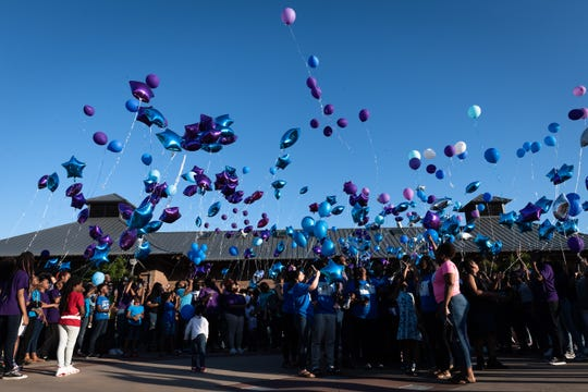 Hundreds of people gathered at Uptown Market in Greenwood Wednesday, Apr. 10, 2019, for a vigil in the memory of 18-year-old Ware Shoals High School student, Trinity Harrison who was killed when a drunk driver collided with the vehicle she was riding in with her prom date on U.S 25 South on Saturday, Apr. 6