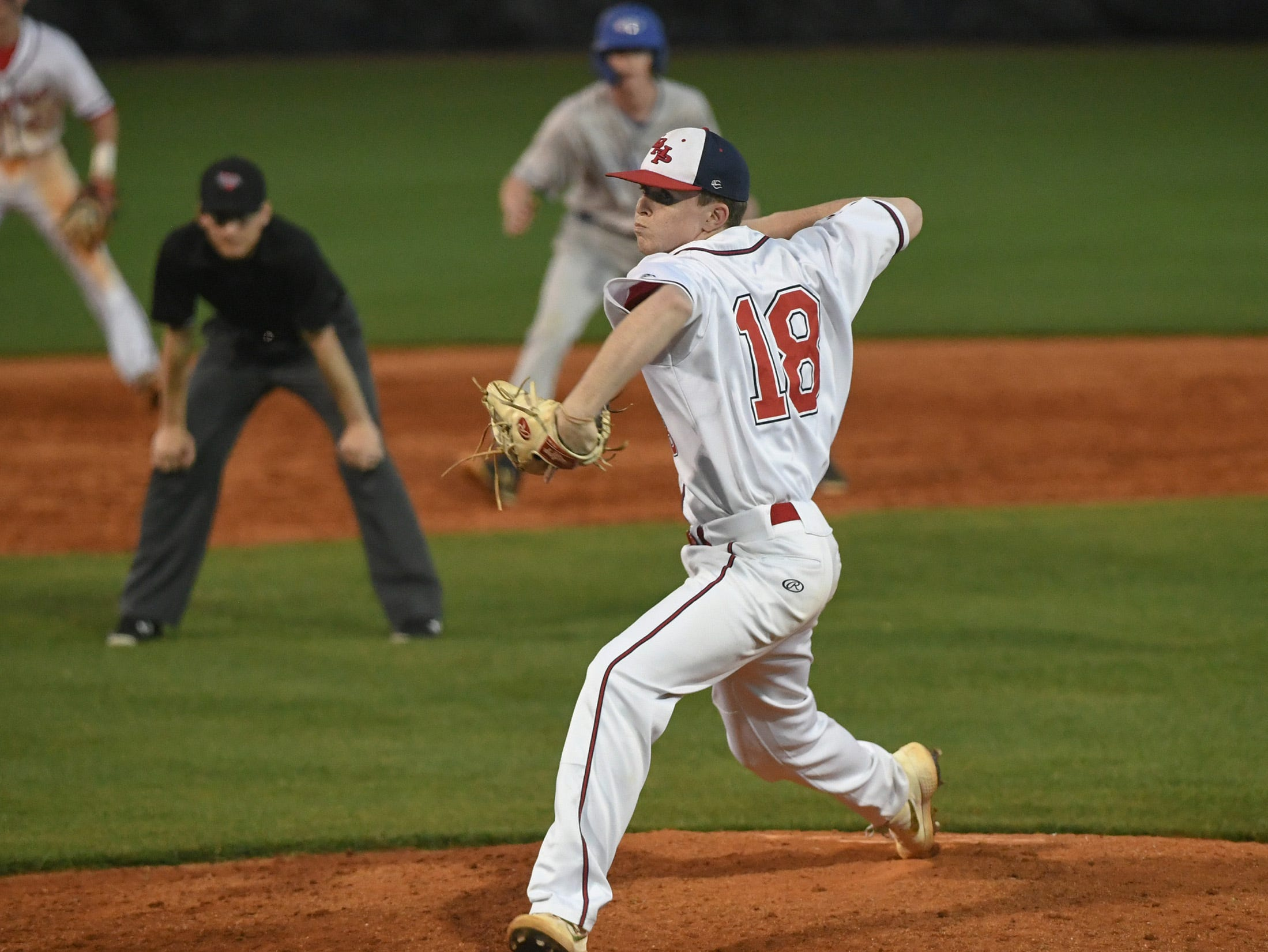 Belton-Honea Path senior Landon Gaddis (18) pitches to Wren during the top of the sixth inning at Belton-Honea Path High School in Honea Path Wednesday, April 10, 2019.