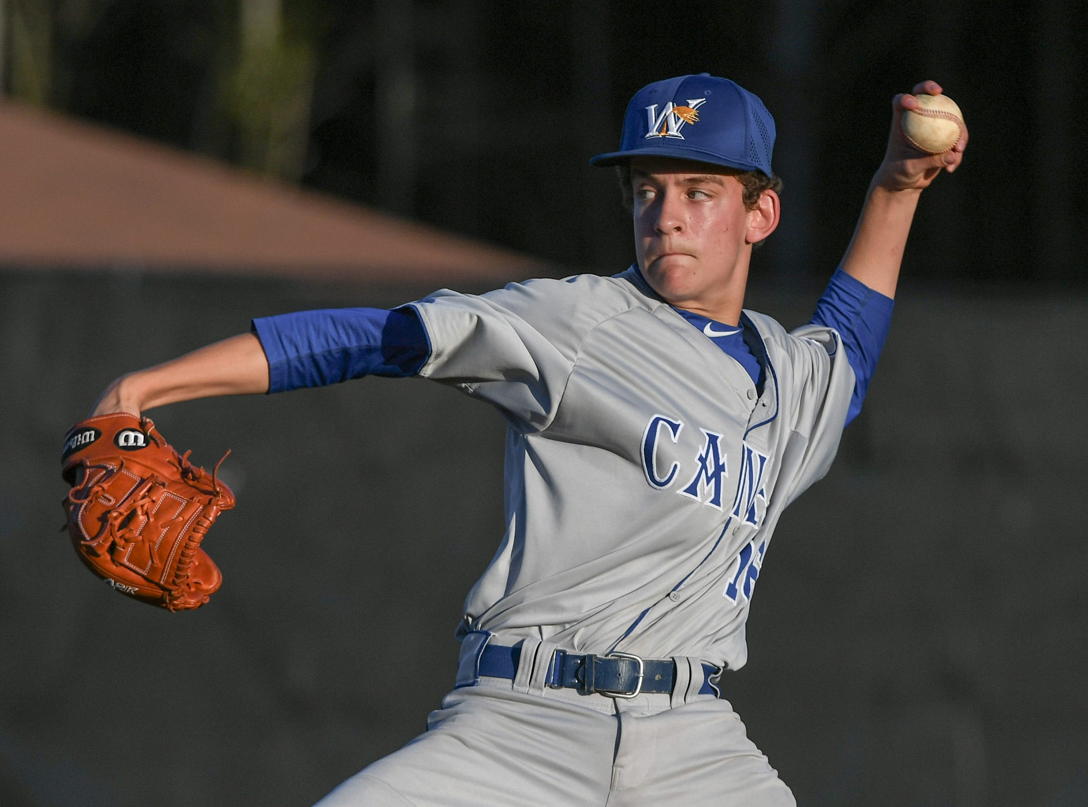 Wren pitcher Owen Austin throws to BHP during the bottom of the fifth inning at Belton-Honea Path High School in Honea Path Wednesday, April 10, 2019.