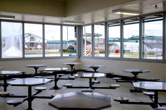 Kirkland Correctional Institution's cafeteria is empty after lunch Thursday March 14, 2019, in Columbia, SC.