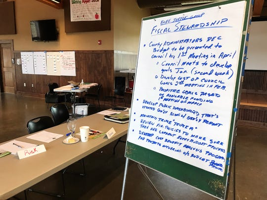 Greenville County Council members Liz Seman and Willis Meadows came up with a list of five priorities for fiscal stewardship during a council retreat Thursday, April 11, 2019 at Pleasant Ridge County Park.