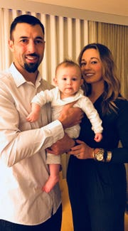 Montana State defensive coordinator Kane Ioane and his wife, Kerri, are the parents of a little girl named Avah.