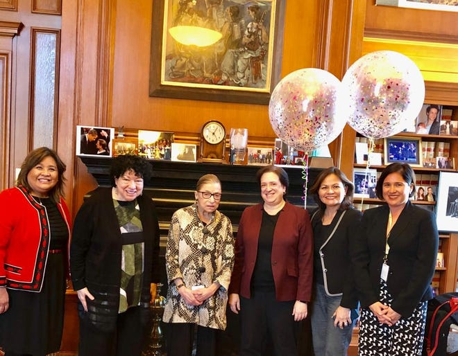 While attending the annual Chief Judges Conference in Washington D.C., on March 26, Chief Judge Frances Tydingco- Gatewood of the District Court of Guam met with the three female associate justices of the Supreme Court of the United States. Pictured from left:  Chief Judge Frances Tydingco-Gatewood, Associate Justice Sonia Sotomayor, Associate Justice Ruth Bader Ginsburg, Associate Justice Elena Kagan, Chief Judge Ramona Manglona of the District Court for the Northern Mariana Islands, and Jennifer Romero Monaco, a former resident of Guam and Democratic Staff Director and Chief Counsel for the United States Senate Committee on Indian Affairs.
