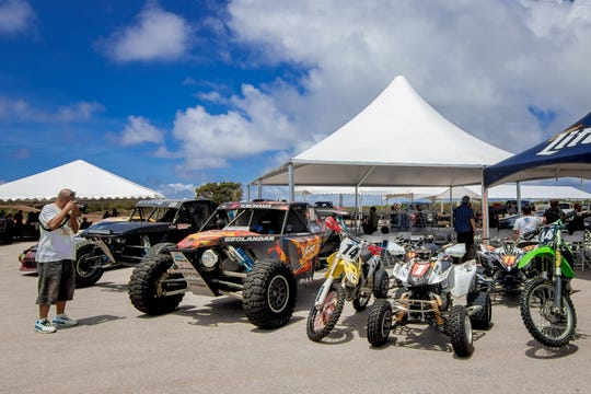 ATVs and motocross bikes at the 39th Annual APL Smokin' Wheels press conference at Guam International Raceway in Yigo on April 11.