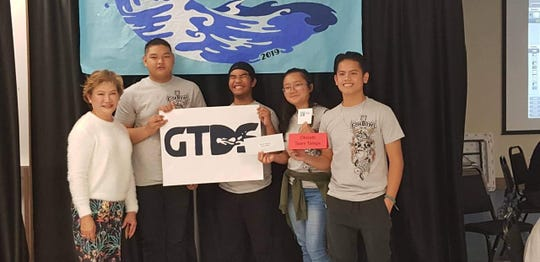 Okkodo's Team Tataga took first place in the Fish Bowl competition held on March 30. Team Tataga also reigns for the third year as defending champions. Pictured from left: Geraldine Nucum; advisor, Mark Howard E. Ganzon, Marley Florencio, Merry Remetira, and Eldon Galang.