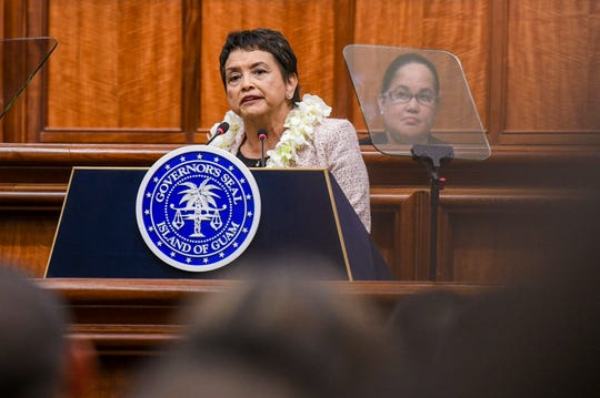 Gov. Lou Leon Guerrero delivers of her State of the Island Address to island lawmakers, leaders and others in the Session Hall of the Guam Congress Building on Thursday, April 11, 2019.