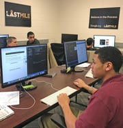 Brian Ward works on a project in the computer coding class at the Pendleton Juvenile Correctional Facility in March.