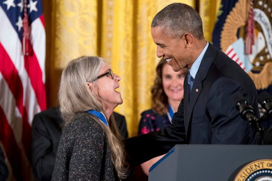 President Barack Obama presents the Presidential Medal of Freedom to mathematician and computer scientist Margaret Hamilton, left, during a ceremony in the East Room of the White House, Tuesday, Nov. 22, 2016, in Washington.