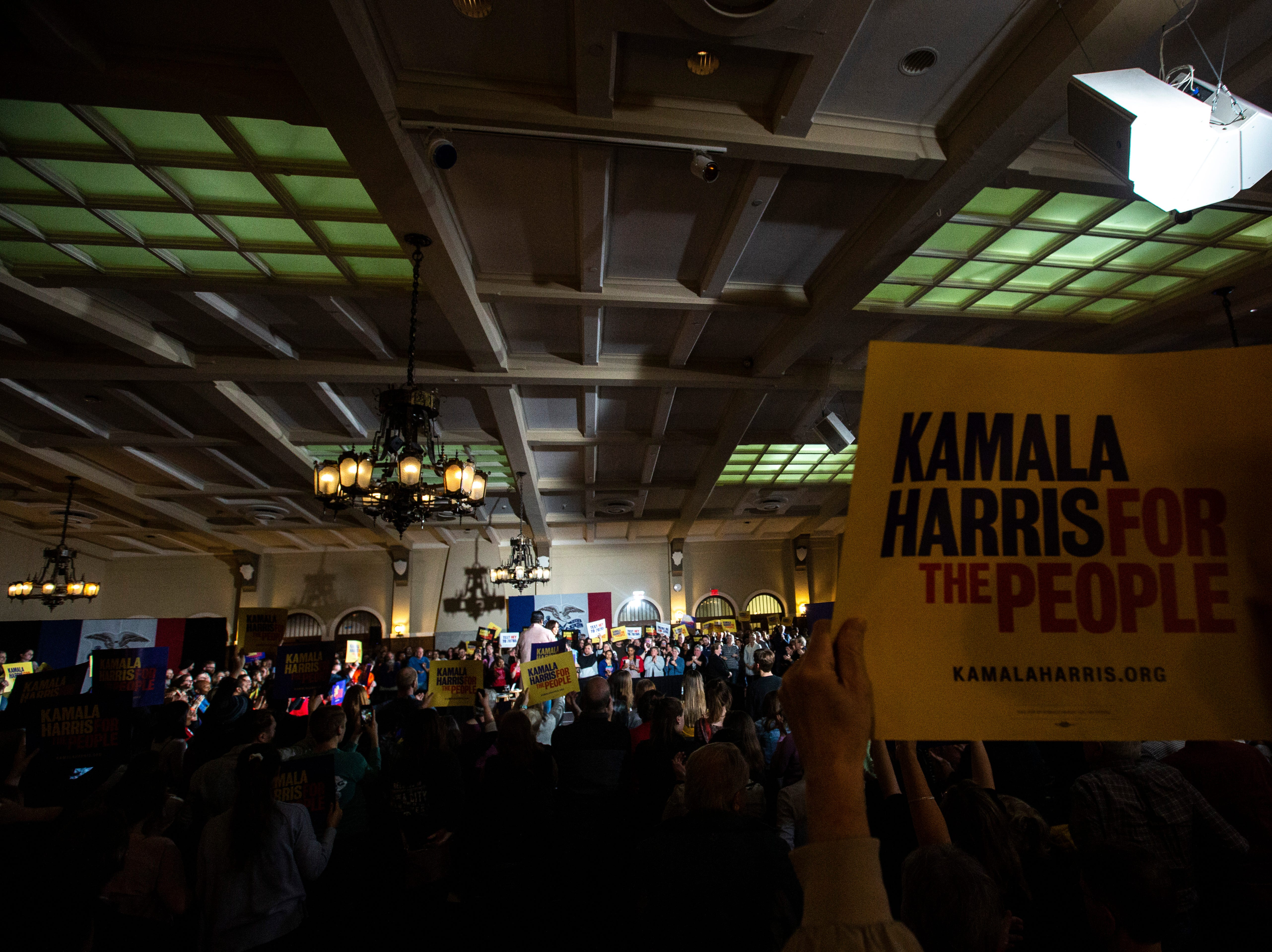 The crowd cheers as U.S. Sen. Kamala Harris, D-Calif., speaks during a town hall event on Wednesday, April 10, 2019, at the Iowa Memorial Union main lounge in Iowa City, Iowa.