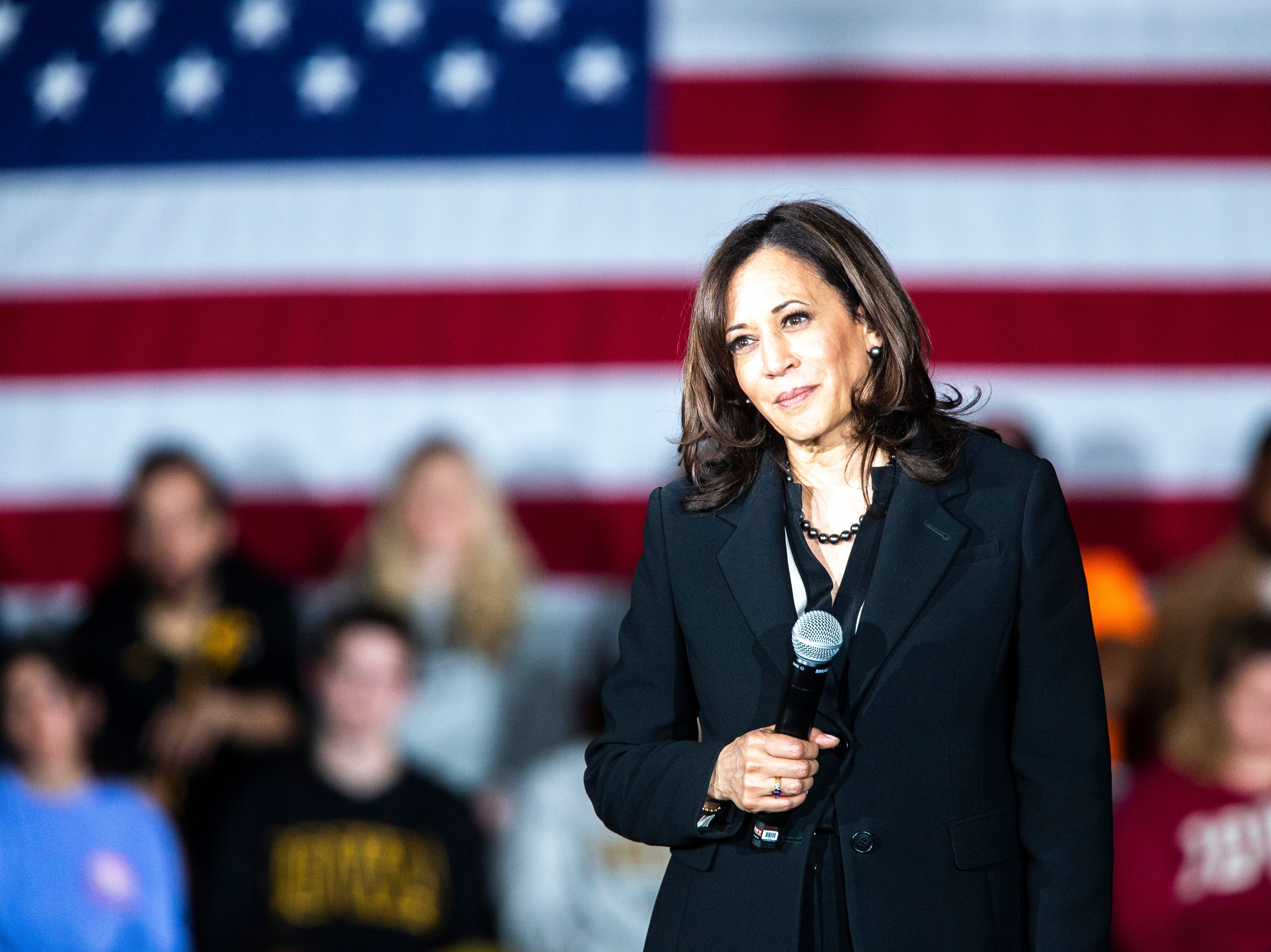 U.S. Sen. Kamala Harris, D-Calif., listens to a question during a town hall event on Wednesday, April 10, 2019, at the Iowa Memorial Union main lounge in Iowa City, Iowa.