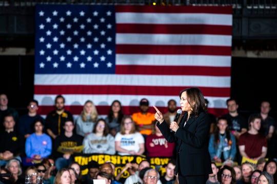 U.S. Sen. Kamala Harris, D-Calif., speaks during a town hall event on Wednesday, April 10, 2019, at the Iowa Memorial Union main lounge in Iowa City, Iowa.