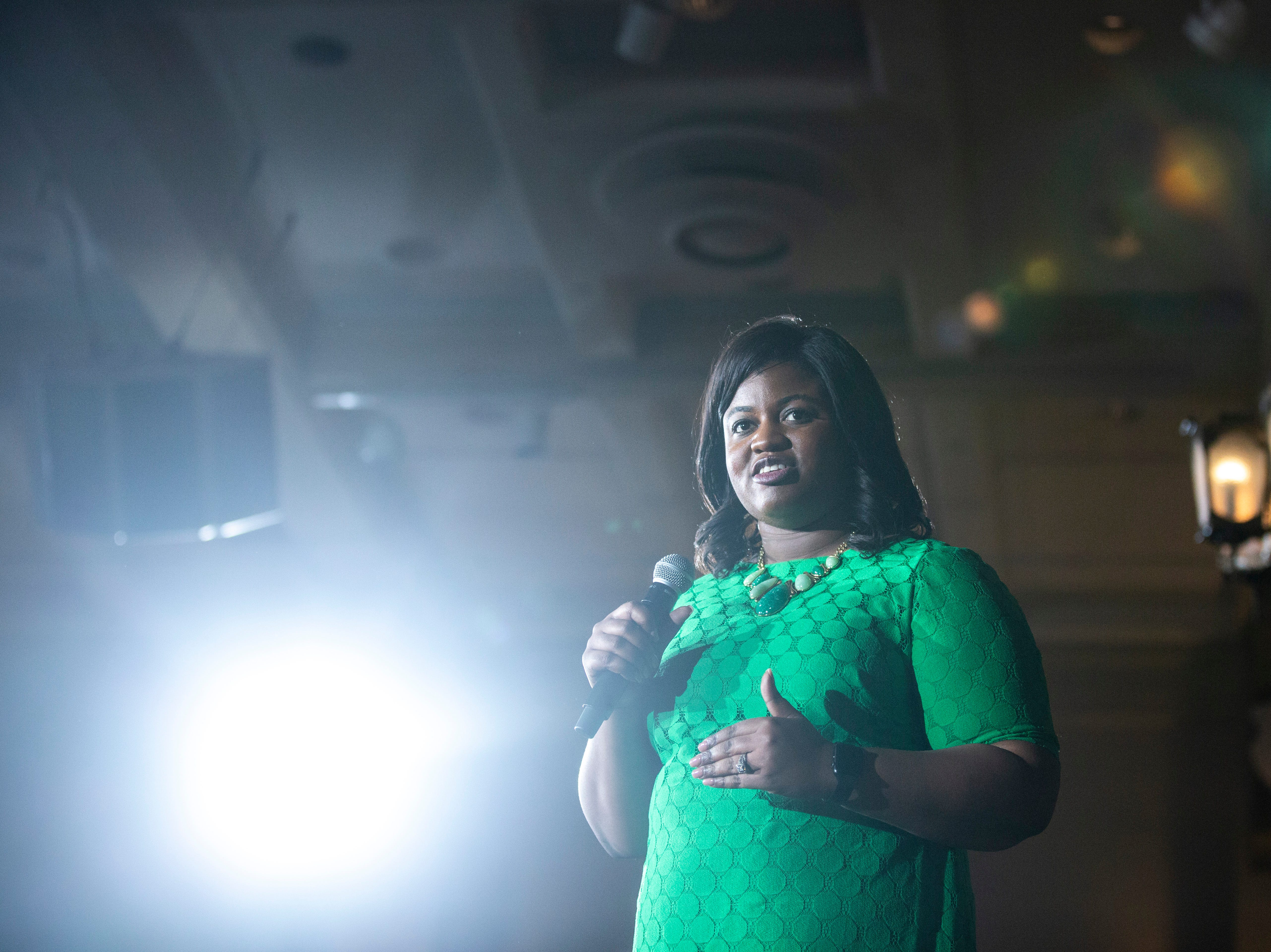 Deidre DeJear speaks during a town hall event on Wednesday, April 10, 2019, at the Iowa Memorial Union main lounge in Iowa City, Iowa.