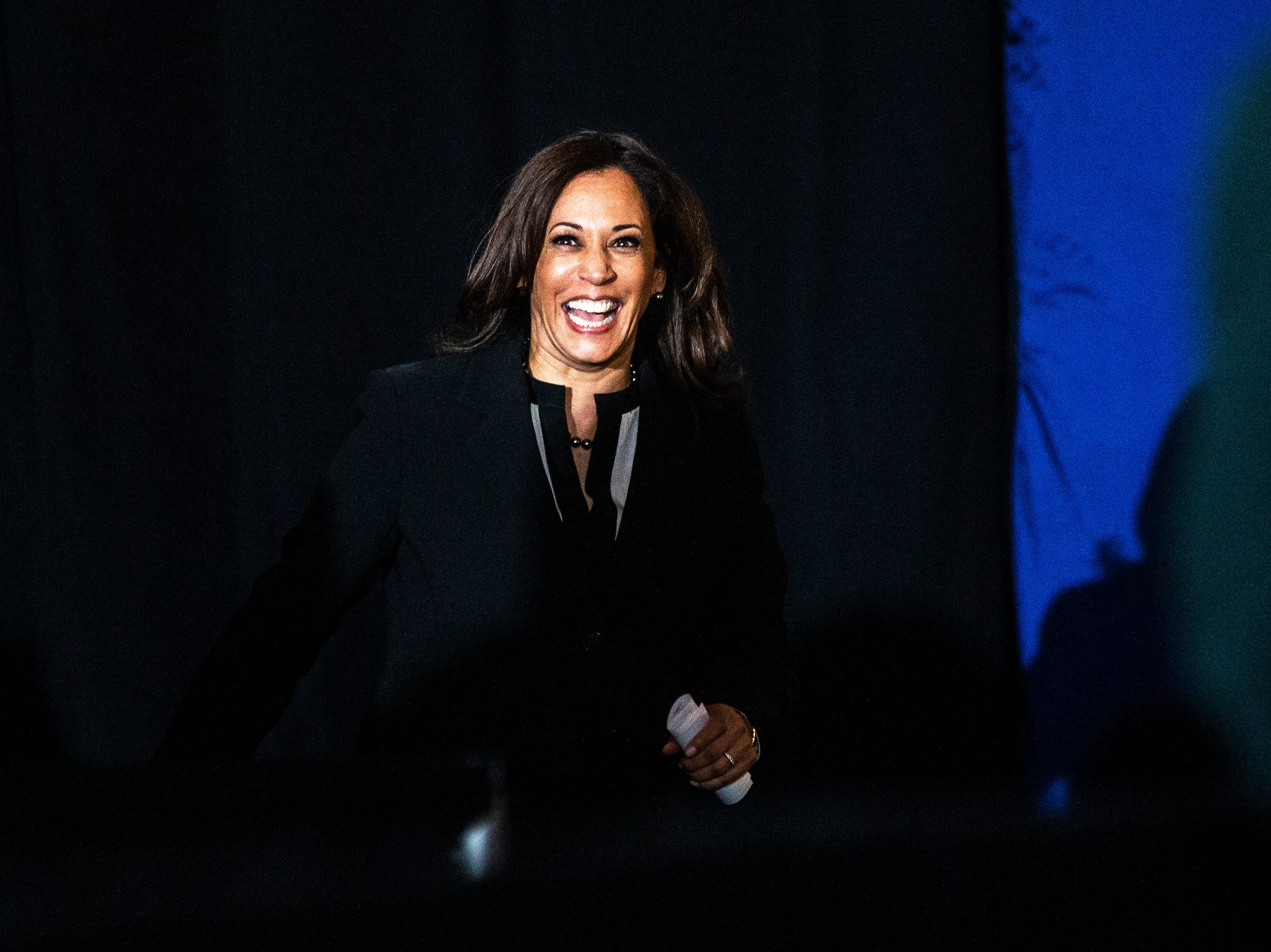 U.S. Sen. Kamala Harris, D-Calif., is introduced during a town hall event on Wednesday, April 10, 2019, at the Iowa Memorial Union main lounge in Iowa City, Iowa.