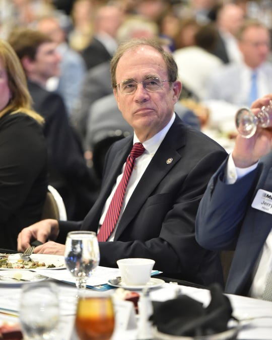 Mississippi Secretary of State Delbert Hosemann enjoys lunch during the annual Mississippi Economic Council luncheon in Jackson. Thursday, April 11, 2019.