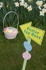 Easter Egg Hunt sign points to a basket under a thicket of daffodils.
