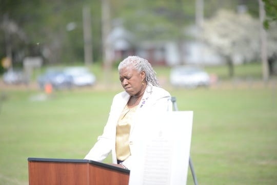 Keynote Speaker Maryetta Rudd talks about her experience as a family member of someone who suffered because of a crime at a National Crime Victims' Rights Week event at Shirlene Mercer Park in Jackson.