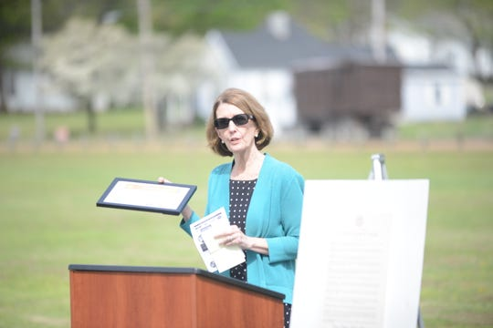 Jane Jarvis speaks about receiving the Voice for Victims award and what can be done to help victims of crime at a National Crime Victims' Rights Week event at Shirlene Mercer Park in Jackson.