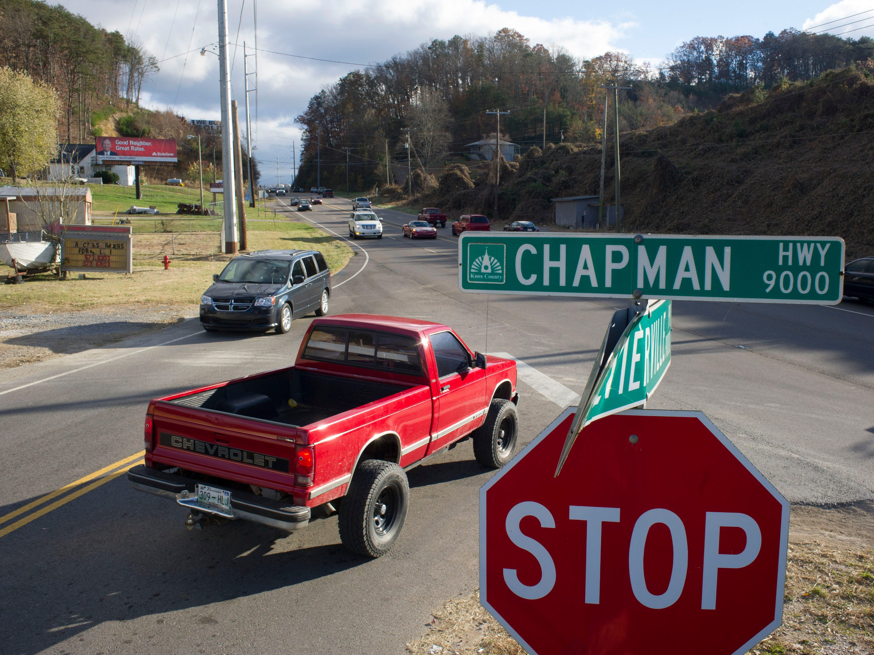The intersection at Chapman Highway and Sevierville Pike, pictured on Monday, Nov. 12, 2013, in Seymour, is slated for improvements according to TDOT officials. Plans call for a cul-de-sac for Sevierville Pike, eliminating the unsafe angle at which it meets Chapman Highway. It could be let for bids in 2015 and no buildings will be taken for the project. (Paul Efird/News Sentinel)