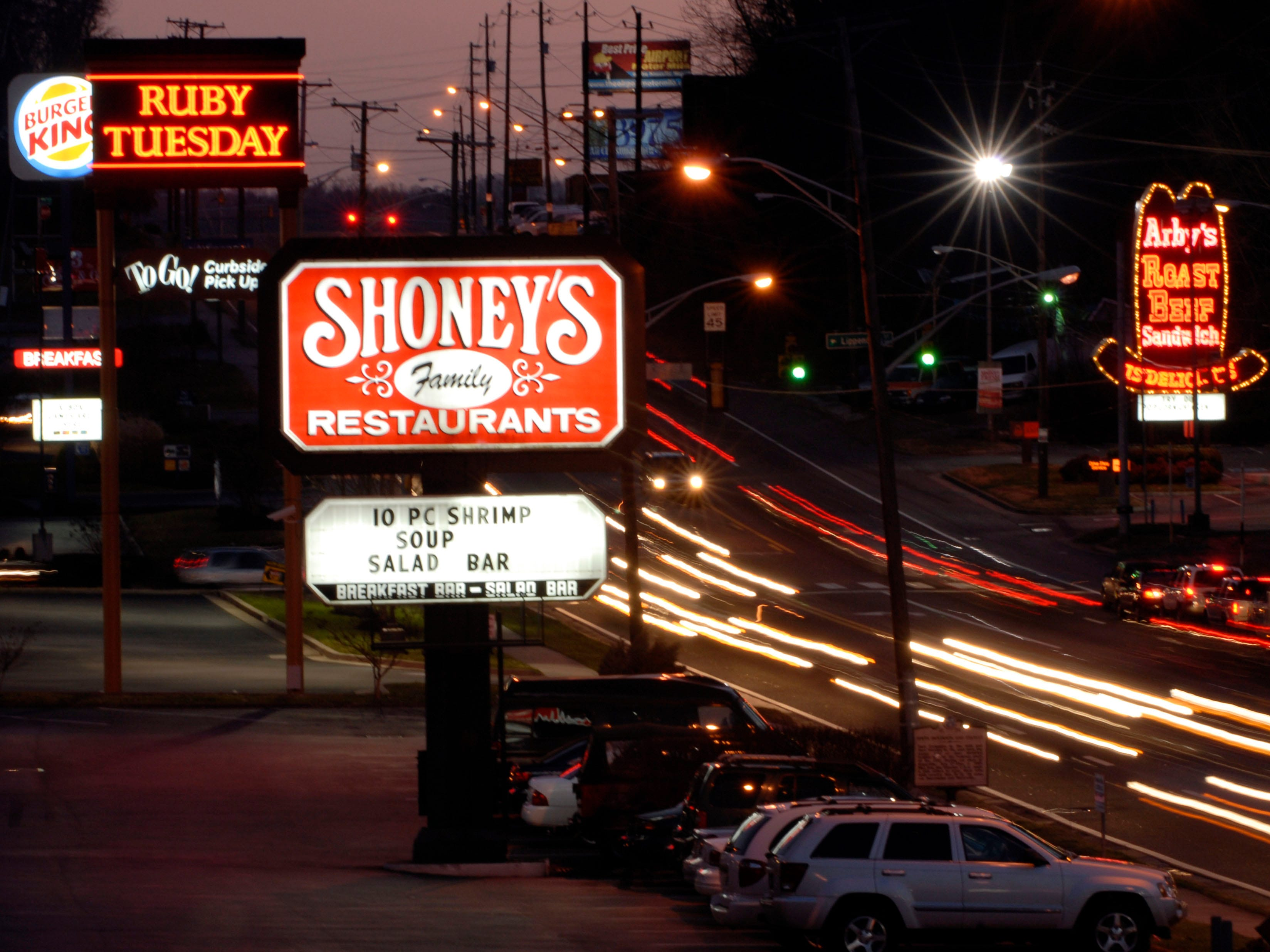Business continues as usual at Shoney's on Chapman Highway in 2007 after it was announced that Royal Hospitality Corp., which operates Church's Chicken restaurants, is acquiring Shoney's Restaurants. The Atlanta-based company will take over all 282 Shoney's restaurants from Shoney's LLC, but the restaurants will continue under the name Shoney's.