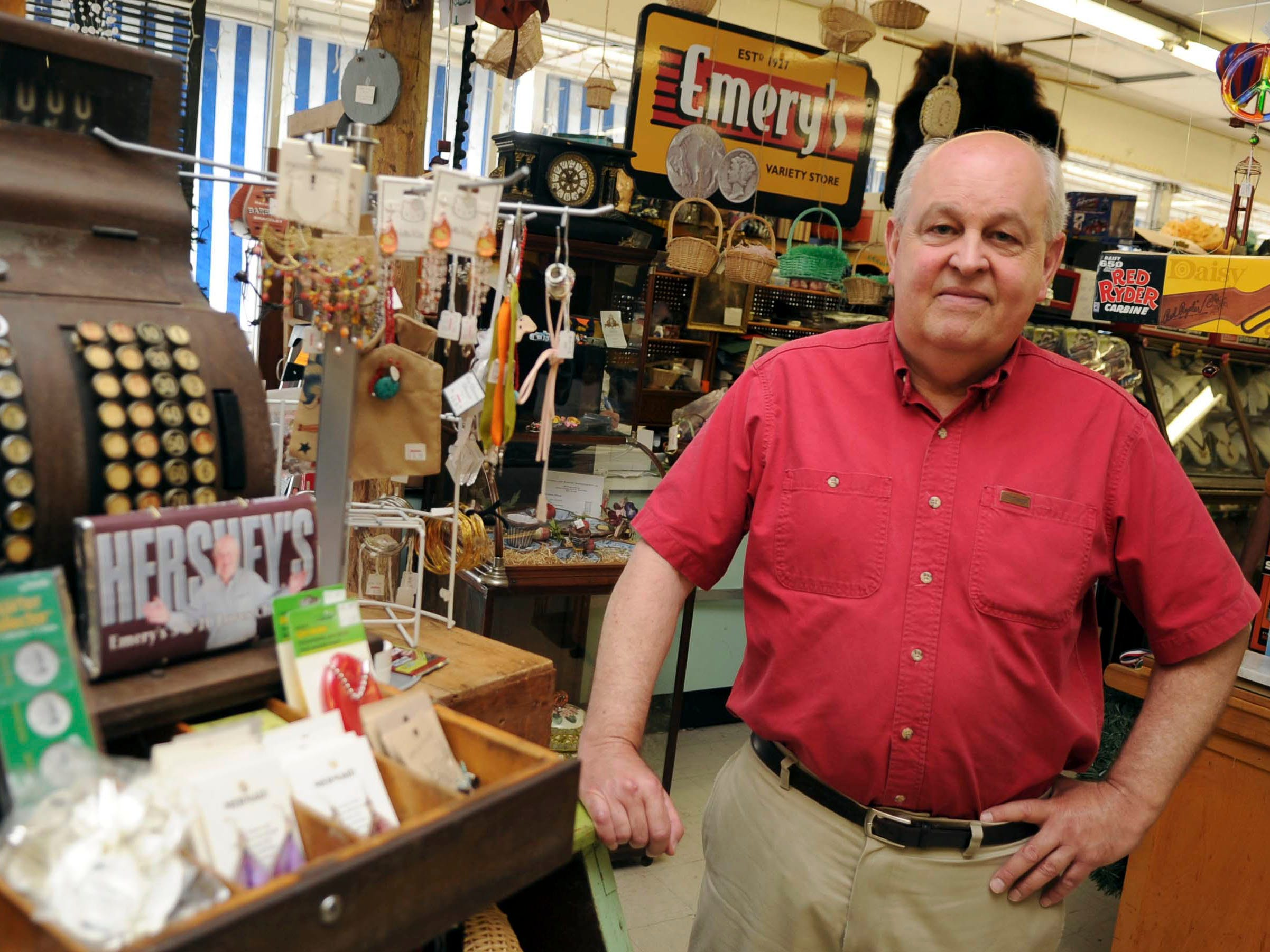 Ron Emery poses for a portrait at his business Emery's 5 & 10 on Chapman Highway on Tuesday, June 14, 2011. Emery says that the detour route for construction on the Henley street bridge has confused customers and hurt his business.