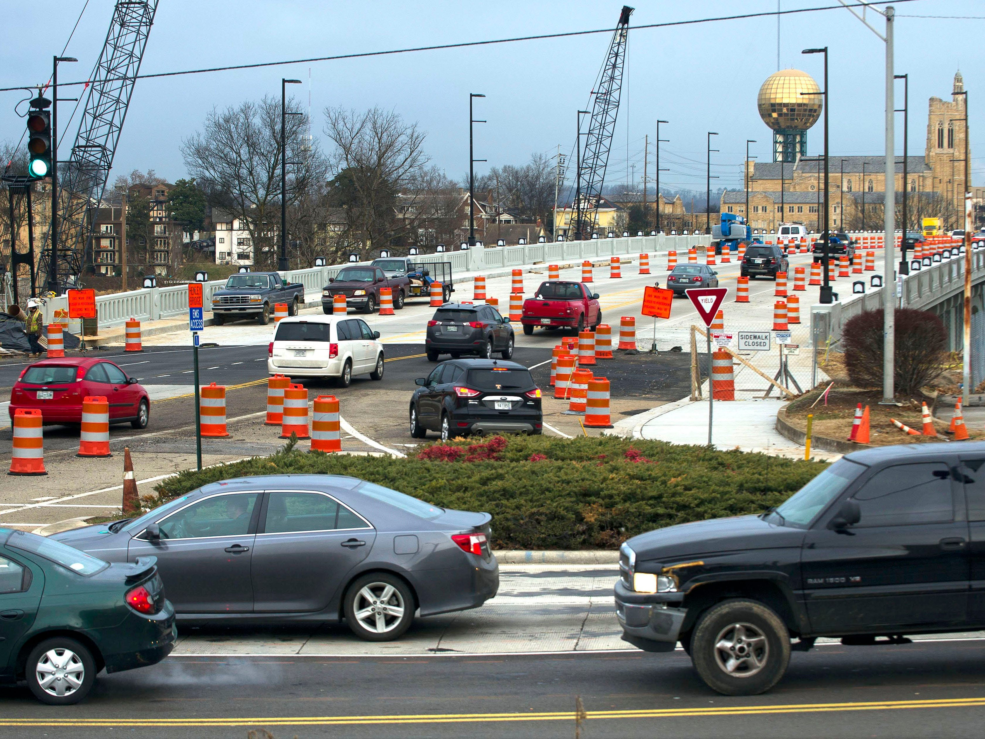 Traffics is seen at the intersection of Chapman Highway and Blount Avenue earlier this month at the Henley bridge in South Knoxville. Tennessee Department of Transportation officials expect four lanes of the Henley bridge to reopen to traffic before the Feb. 28 deadline.