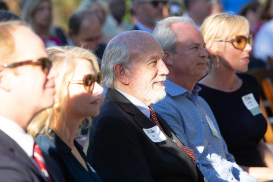 Clayton Family members including Jim Clayton, center during a ceremonial groundbreaking and announcement of a join $5 million gift from Jim Clayton and First Bank for a new Amphibian and Reptile Conservation Campus at Zoo Knoxville, Wednesday, April 10, 2019.