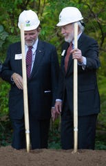 FirstBank executive chairman Jim Ayers, left, and Jim Clayton, right, during a ceremonial groundbreaking and announcementof a join $5 million gift from Jim Clayton and First Bank for a new Amphibian and Reptile Conservation Campus at Zoo Knoxville, Wednesday, April 10, 2019.