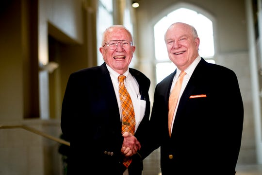 Dr. Joseph M. Haskins, right, meets his former professor at the dedication ceremony Thursday, April 11, on UT's campus. Haskins and his wife's gift made it possible to to honor the legacy of Bass with the naming of the science building atrium.